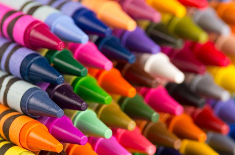 multicolored crayons closeup